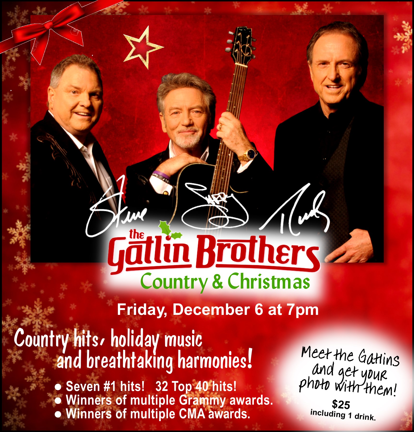 The celebrated Gatlin Brothers will delight you with some of their hits, glorious holiday music, breathtaking harmonies, and inspirational stories. Winners of the multiple Grammy and CMA awards, with seven number-one hits and 32 Top 40 hits.