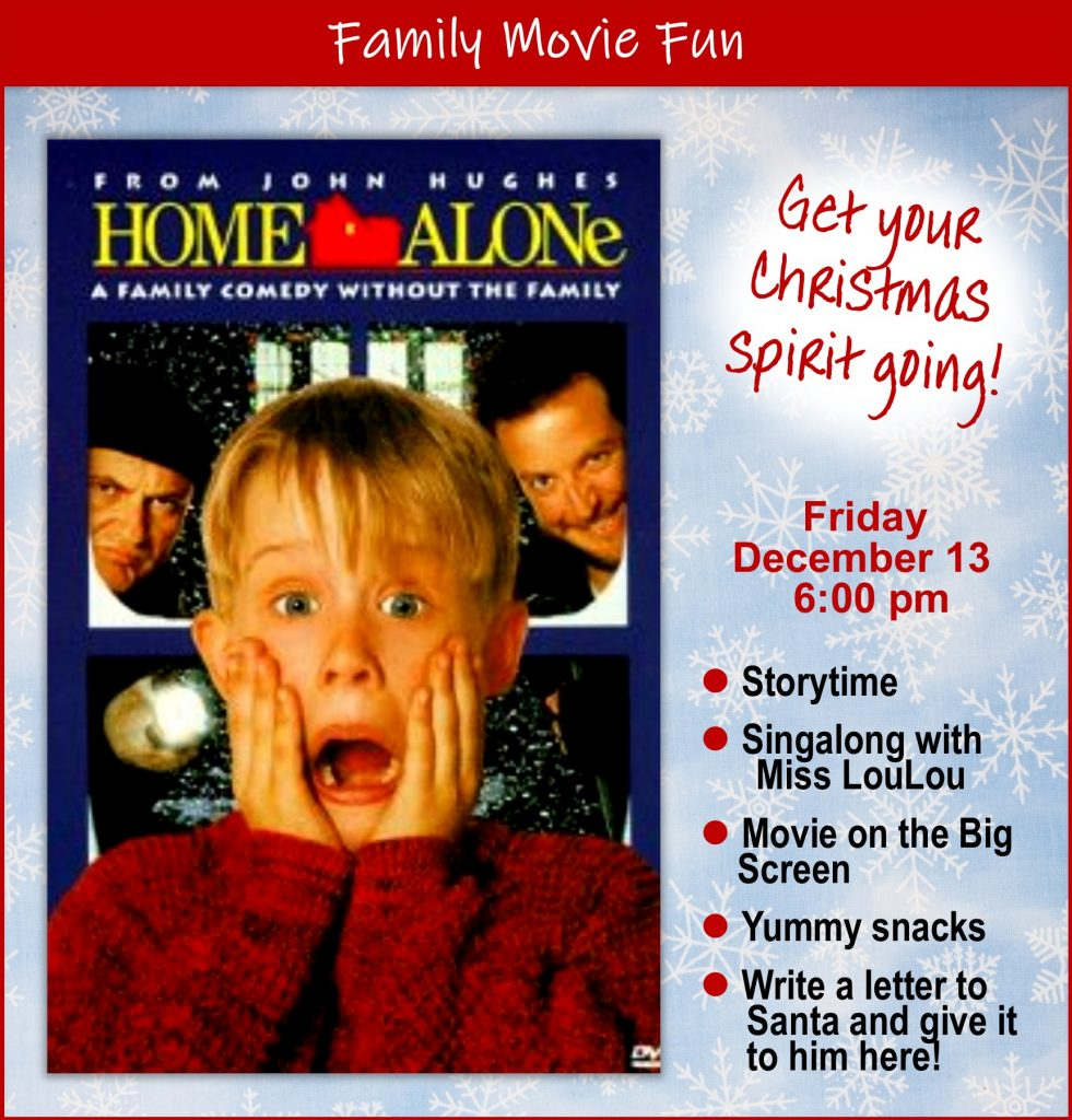 Join us for Storytime and a singalong, movie on the big screen, yummy snacks, write your letter to Santa and give it to him in person!