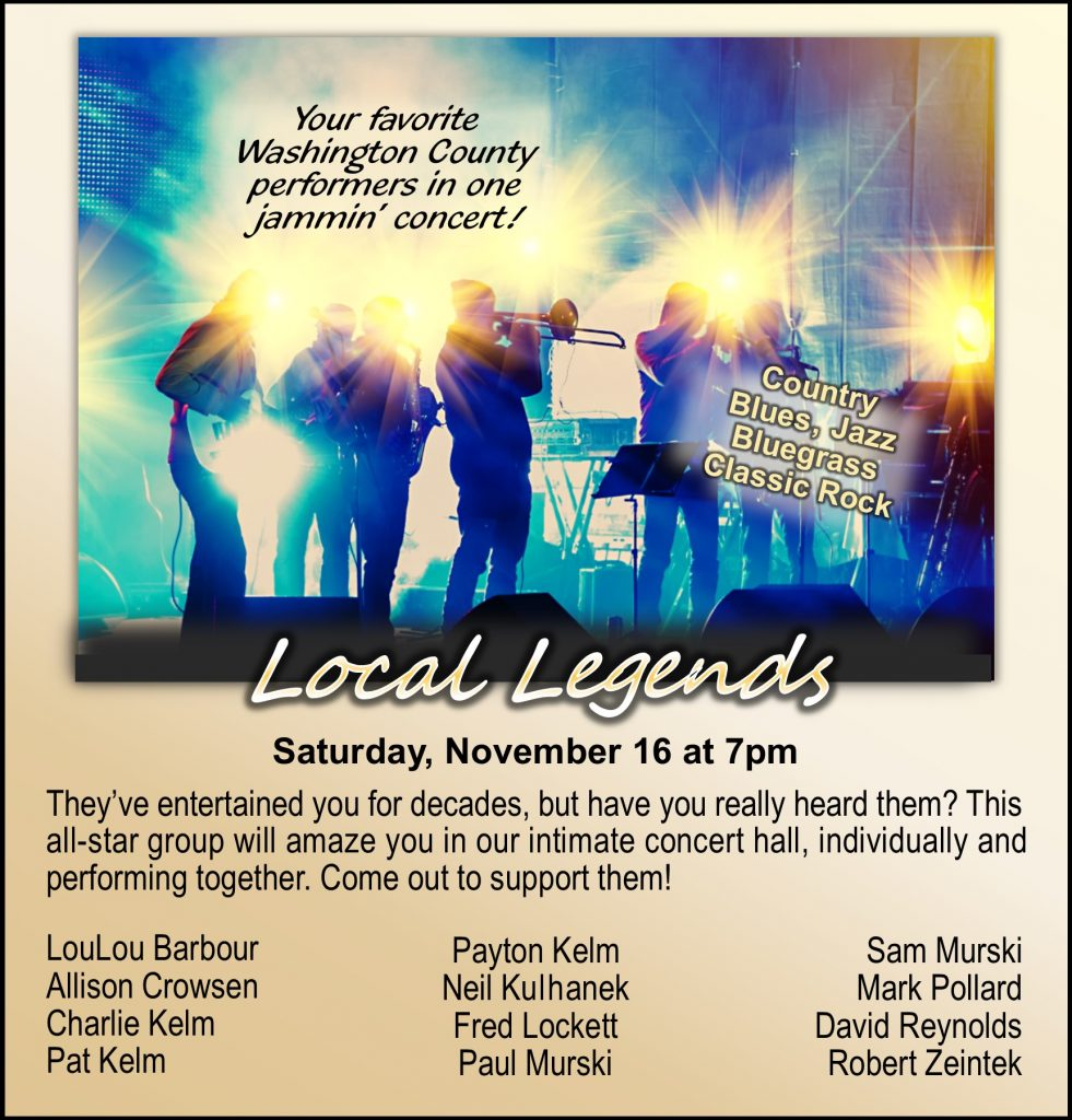 They've entertained you for decades, but have you really heard them? This all-star group will amaze you in our concert hall, individually and performing together! LouLou Barbour Allison Crowsen Charlie Kelm Pat Kelm Payton Kelm Neil Kulhanek Fred Lockett Paul Murski Sam Murski Mark Pollard David Reynolds Robert Zeintek
