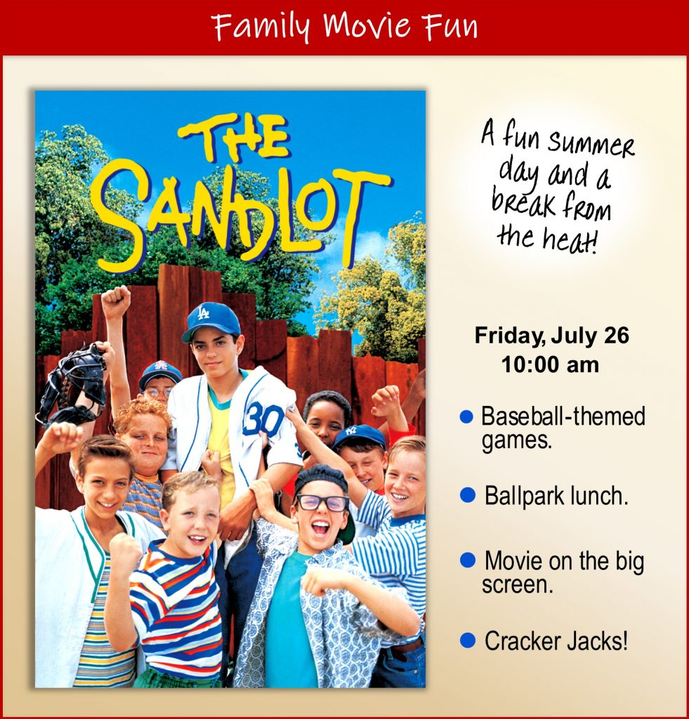 Join us for a movie and Baseball-themed games, Ballpark lunch, Cracker Jacks!